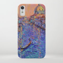 Sunset Over The Grand Canal In Venice -palette knife urban city landscape by Adriana Dziuba iPhone Case