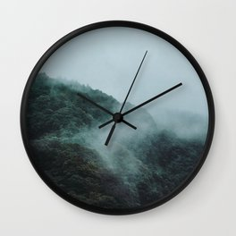 Foggy Hills on Miyajima Island, Japan. Nature Travel Print - Photography Wall Art. Wall Clock