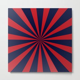 Retro dark blue and red sunburst style abstract background Metal Print