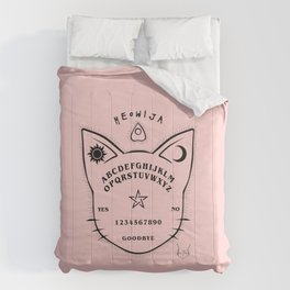 Meowija pink background Comforters
