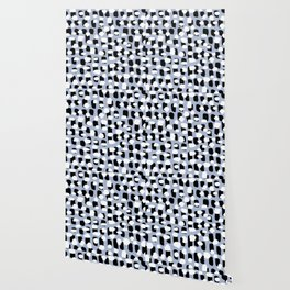 Spotted series messy abstract dashes blue black and white raw paint spots Wallpaper