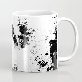 Spilt White Textured Black And White Abstract Painting Coffee Mug