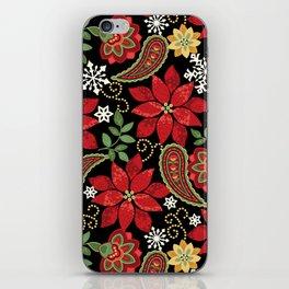 Christmas Poinsettia Paisley iPhone Skin