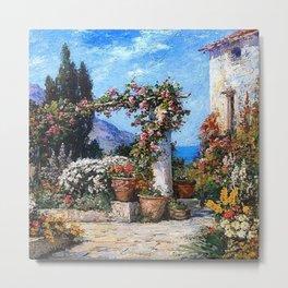 'A Parisian Garden' landscape floral garden painting by Tom Mostyn Metal Print
