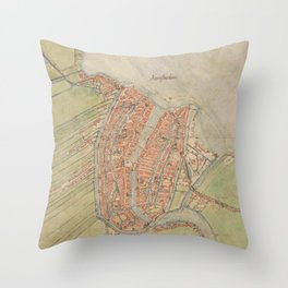 Vintage map of Amsterdam (1560) Throw Pillow