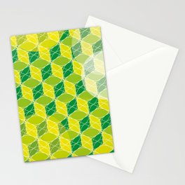 Green Isometric Pattern Stationery Cards