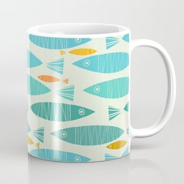 Shimmering Scandinavian Fish In Blue And Gold Pattern Coffee Mug