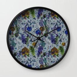 Bleu Foliage Wall Clock