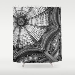 Galeries Lafayette; Paris France Art Nouveau Architecture in Black and White  Shower Curtain