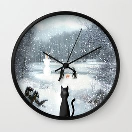 Cat on tour Wall Clock
