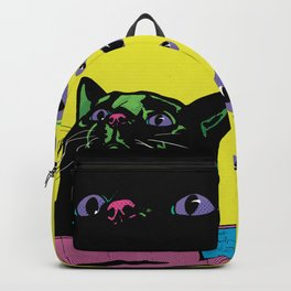 Black Cat in a box (Yellow) Backpack
