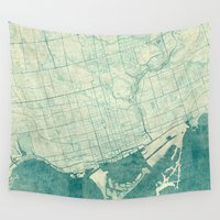 vintage map Wall Tapestries featuring Toronto Map Blue Vintage by City Art Posters