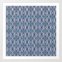 Moroccan Blue Tiles Art Print