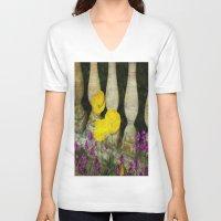 concrete V-neck T-shirts featuring Concrete Flowers by BeachStudio