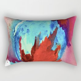 Ice and Fire: a vibrant, colorful, mixed media piece in pinks, blues, and red Rectangular Pillow