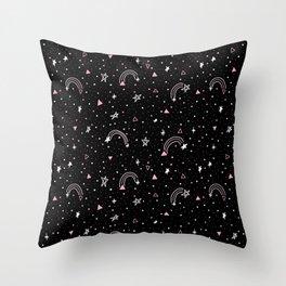 Super Super Star Black Throw Pillow