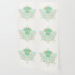 Sacred Lotus Mandala – Turquoise & Gold Palette Wallpaper