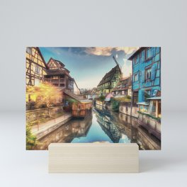 Colmar the Little Venice painting, French village Lauch river scenery, France nature, travel art pos Mini Art Print