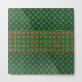 Christmas Green Quilt Pattern with Red Dots Metal Print