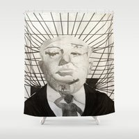 hitchcock Shower Curtains featuring Hitchcock by Abbi Burrows