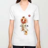 street fighter V-neck T-shirts featuring Street Fighter II - Ryu by Carlo Spaziani