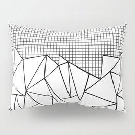 Abstract Outline Grid Black on White Pillow Sham