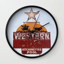 Vintage Neon Sign - The Western Motel Wall Clock