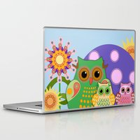 bebop Laptop & iPad Skins featuring Owls, Flowers Fantasy design by thea walstra