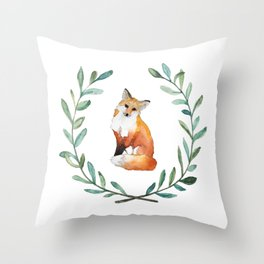 Fox Wreath Throw Pillow