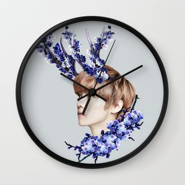 Blue Blossoms Wall Clock
