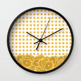 Orange polkadot wrap around with orange fruit slices Wall Clock
