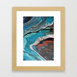 Go For Broke III - Turquoise Copper Green Black Fluid Art Marble Liquid Stone Framed Art Print