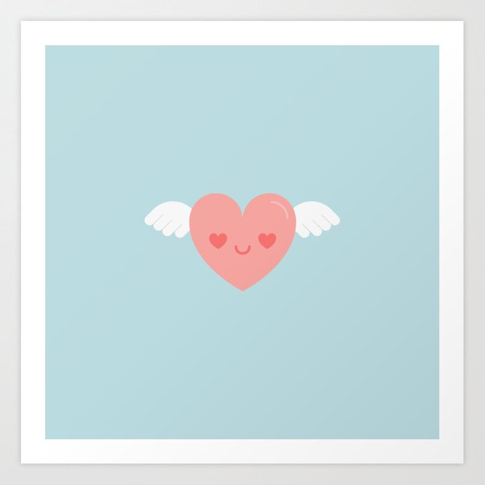 Cute Kawaii Flying Heart Art Print