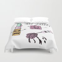 makeup Duvet Covers featuring Zombie Makeup by Carrillo Art Studio