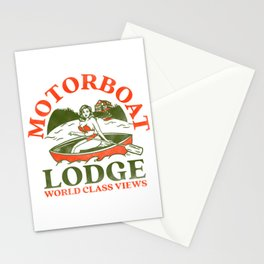 Motorboat Lodge: World Class Views. Funny Retro Pinup Girl In A Canoe Stationery Cards