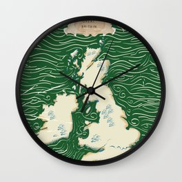 Vintage Victorian British Isles Map Wall Clock
