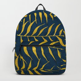 Golden Palm tree blue Backpack