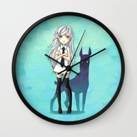 doberman Wall Clocks featuring Doberman by Freeminds