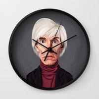 celebrity Wall Clocks featuring Celebrity Sunday ~ Andy Warhola by rob art | illustration