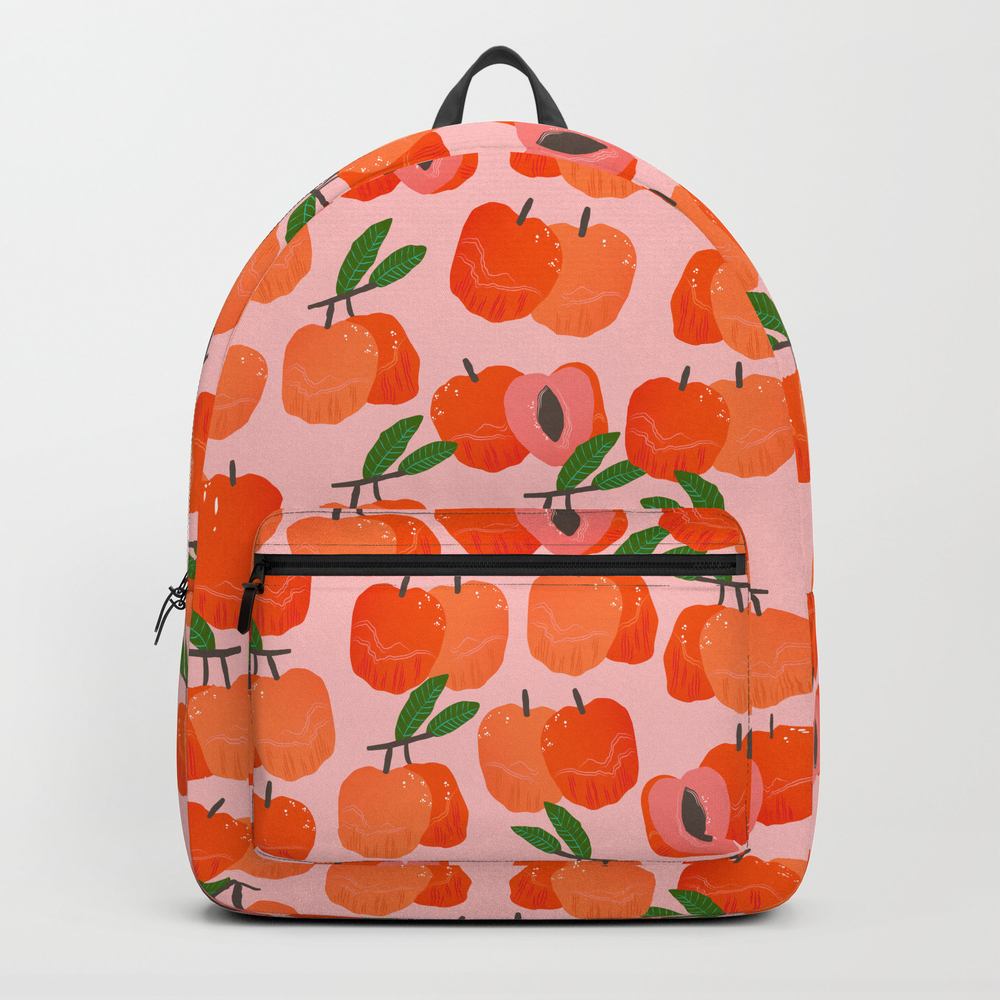 Peach Fruit Pattern Backpack by Blossompatent BKP7308609