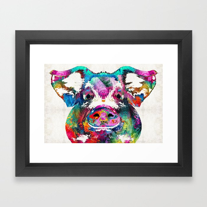 Colorful Pig Art - Squeal Appeal - By Sharon Cummings Framed Art ...