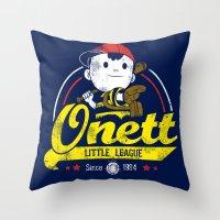 league Throw Pillows featuring Onett little league by TeeKetch