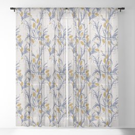 FRENCH LINEN THISTLE Sheer Curtain