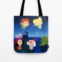 peter pan Tote Bags featuring Peter Pan by UniverseSunny