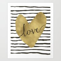 gold foil Art Prints featuring Love gold foil heart by Retro Love Photography