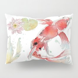 """Watercolor Painting of Picture """"Koi Pond"""" Pillow Sham"""
