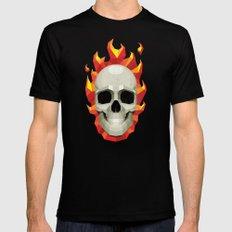 Flaming Skull Mens Fitted Tee MEDIUM Black