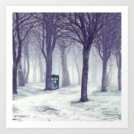 Tardis In The Snow Jungle Art Print