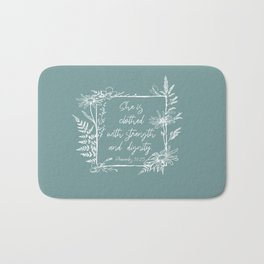 She Is Clothed Wildflower Frame Bible Verse Bath Mat