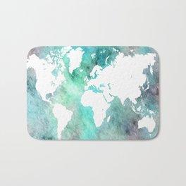 Design 62 World Map Turquoise Aqua Bath Mat